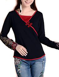 Damen Stickerei Einfach Lässig/Alltäglich T-shirt,V-Ausschnitt Frühling Langarm Schwarz Seide / Baumwolle / Elasthan Mittel