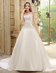 A-line Wedding Dress Chapel Train Spaghetti Straps Satin with Beading