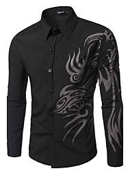Men's Print Casual Shirt,Cotton Long Sleeve Black / Blue / Red / White
