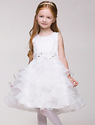 A-line Knee-length Flower Girl Dress - Organza Sleeveless Jewel with