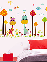 Colorful Cartoon Giraffe Children Vinyl Wall Stickers For Kids Rooms Home Decor Living Pvc Removable Sofa Wall Sticker