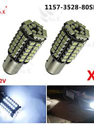 2x voiture 1157 BAY15d 80 cms 3528 a conduit à queue blanche tour ampoules des lampes de signal lumineux au xénon