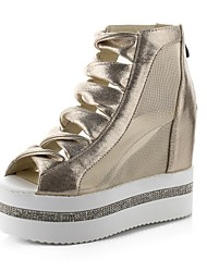 Women's Shoes Tulle / Platform Wedges / Peep Toe / Creepers Sandals Outdoor Black / Silver / Gold