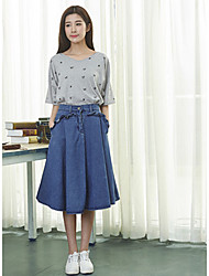 Women's Solid Blue Skirts , Vintage Knee-length