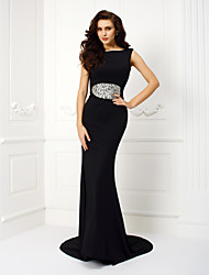 TS Couture Formal Evening Dress - Beautiful Back Trumpet / Mermaid Jewel Court Train Jersey with Appliques Beading Crystal Detailing