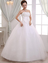A-line Wedding Dress Floor-length Strapless Lace / Satin with Appliques / Beading / Lace