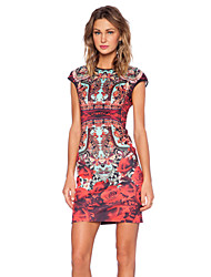 Women's Vintage Floral Sheath Printed Dress , Round Neck Knee-length Polyester