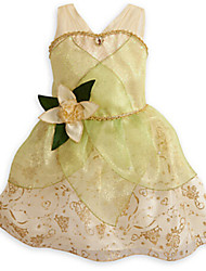 Girl's Gold Dress,Floral / Dresswear Polyester All Seasons