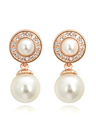 HKTC Concise Jewelry 18k Rose Gold Plated Shinning Double White Simulated Pearls Drop Earrings