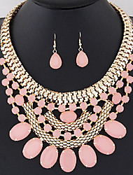 Women's European Fashion Gorgeous Bright Gemstone Necklace Earrings Set