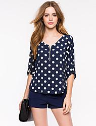 Damen Punkt Sexy / Retro Lässig/Alltäglich T-shirt,Rundhalsausschnitt Sommer ¾-Arm Blau Polyester Dünn