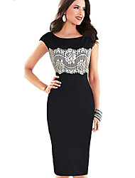 Women's Party/Cocktail Sexy Sheath Dress,Color Block Round Neck Knee-length Short Sleeve Black Rayon / Polyester All Seasons