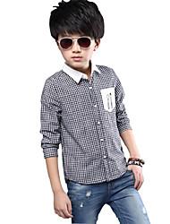 Boy's Cotton Spring/Fall Fashion Gentleman Neckline Delicate Pocket Check Shirt