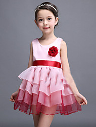 Girl's Blue / Pink Dress , Bow Polyester Summer