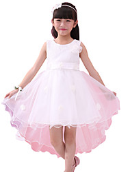 Girl's White Flower Mesh Mermaid Party Pageant Wedding Children Clothing Dresses