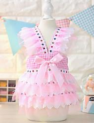 Dog Dress Blue / Pink Summer Plaid/Check / Bowknot Fashion