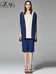ZigZag® Dames Ronde hals Mouwloos Shirt & Blouse Marineblauw / Beige - 11050
