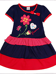 Girl's Dress Summer Floral Dress Short Sleeve Children Dresses(Random Printed)
