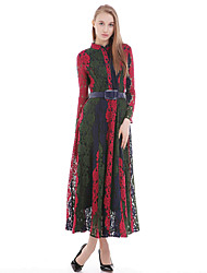 Women's Simple Sheath Dress,Patchwork Round Neck Maxi Long Sleeve Blue / Red / Green Silk / Cotton / Polyester All Seasons