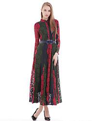 Mulheres Vestido Bainha Simples Patchwork Maxi Decote Redondo Seda / Algodão / Poliéster