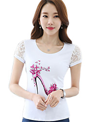 Women Summer New Lace stitching Slim Short-Sleeved T-Shirt
