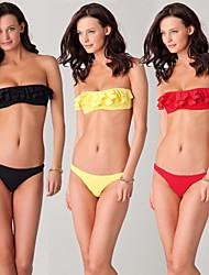 Bikinis / Zwei Stücke(Gelb / Rot / Schwarz) -Atmungsaktiv / Rasche Trocknung / Leichtes Material / Sanft / Videokompression- für Damen