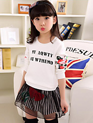 casual / diária conjunto de roupas floral da menina, primavera algodão / caia branco
