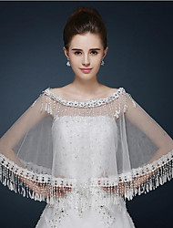 Wedding  Wraps Ponchos Sleeveless Lace / Tulle Ivory Wedding / Party/Evening / Casual Bateau Lace / Tassels Pullover