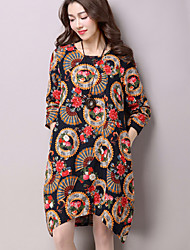 Women's Casual / Day Floral Ethnic Print Literature and Art Loose Thin Asymmetric Dress (Cotton / Linen)