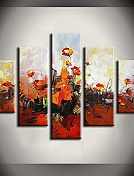 Hand-Painted Abstract / Landscape / Still Life / Floral/BotanicalModern Five Panels Canvas Oil Painting For Home Decoration