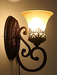 31*16*24CM Europe Type Restoring Ancient Ways, Wrought Iron Bedroom Glass Wall Lamp LED Light