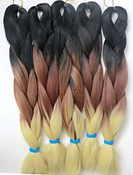 24inch 100grams Xpression Snythetic Long Hair Ombre Tricolor #black& brown&yellow  Jumbo Box Braiding Hair