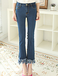 Women's Vintage High Waist Show Thin  Tassels Ninth Pants Bootcut