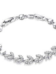 HKTC Noble 18k White Gold Plated Rhinestones Leaf Style Clear Simulated Diamond Crystals Princess Style Bracelet