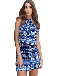 Women's Sexy Floral Sheath Dress , Halter Above Knee Polyester