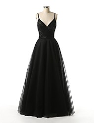 Formal Evening Dress A-line Spaghetti Straps Floor-length Tulle with Beading