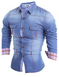 Brand Fashion Men's casual long-sleeved shirt Slim denim shirt lapel Polyester Casual / Sport