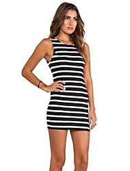 Women's Striped Black Blouse,Round Neck Sleeveless