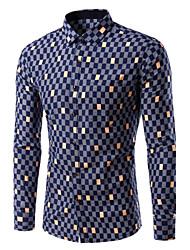 Men's Print / Plaids / Color Block Casual / Work / Formal / Sport / Plus Sizes Shirt,Cotton Long Sleeve Multi-color