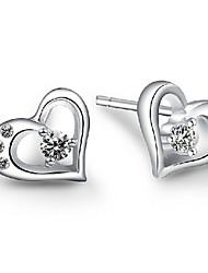 Brincos Curtos Coração Pedras dos signos Prata de Lei Zircão Formato de Coração Jóias Para Casamento Festa Diário Casual Esportes 1peça