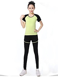 Women Sexy Fashion Sports Casual Running Suit Yoga Sets Gym Suits (Suits = Short Sleeve Top + Leggings)