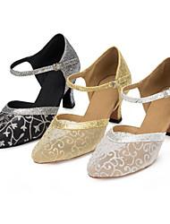 Women's Dance Shoes Latin / Modern / Salsa / Samba Satin / Paillette Customized Heel Black / Silver / Gold