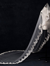 Wedding Veil One-tier Cathedral Veils Lace Applique Edge / Pearl Trim Edge