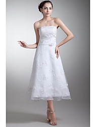 A-line Wedding Dress - White Tea-length Strapless Lace