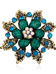 Alloy/Rhinestone/Resin Brooch/Retro Folk Style leaves Flower Brooch/Casual/Party/Daily 1PC