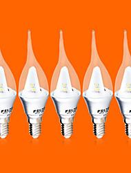 5 stuks fsl® e14 3 w 9 smd 3528 220 lm warm wit / koel wit c kaars bollen 220-240 v