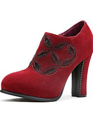 Women's Shoes Suede Chunky Heel Heels Heels Party & Evening Burgundy