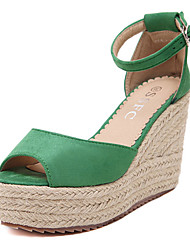 Women's Shoes Fleece Wedge Heel  Peep Toe Sandals Party & Evening / Dress Black / Green