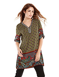 Women's Floral Print Boho Bambi Green Blouse,V Neck ¾ Sleeve