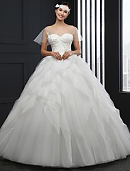 Ball Gown Wedding Dress Chapel Train Jewel Tulle with Beading